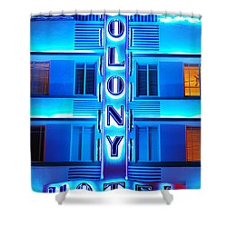 Neon Lights Of The Colony Hotel, Miami Beach Shower Curtain