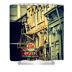 Neon Oysters Sign Shower Curtain