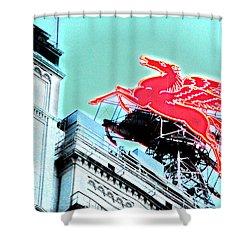 Neon Pegasus Atop Magnolia Building In Dallas Texas Shower Curtain by Shawn O'Brien