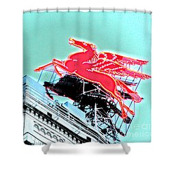 Neon Pegasus Atop Magnolia Building In Dallas Texas Shower Curtain