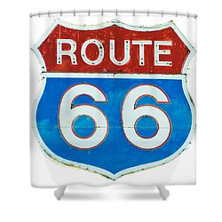 Neon Route 66 Sign Shower Curtain