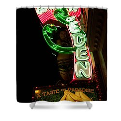 Neon Sign At Night In North Beach San Francisco 1 Shower Curtain by Jason Rosette