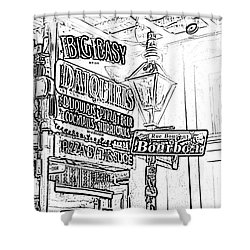 Neon Sign On Bourbon Street Corner French Quarter New Orleans Black And White Photocopy Digital Art Shower Curtain by Shawn O'Brien