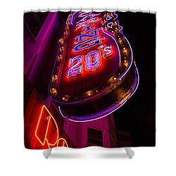Shower Curtain featuring the photograph Neon Signs At Night In North Beach Low Angle Ve by Jason Rosette