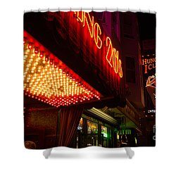 Neon Signs At Night In North Beach San Francisco With Light Bulb Awning Shower Curtain by Jason Rosette