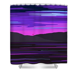 Neon Sunset Reflections Shower Curtain