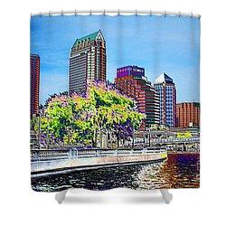 Neon Tampa Shower Curtain by Carol Groenen