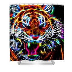 Neon Tiger Shower Curtain by Andreas Thust
