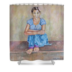 Nepal Girl 4 Shower Curtain by Marty Garland