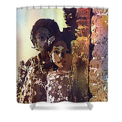 Shower Curtain featuring the painting Nepalese Girls by Ryan Fox