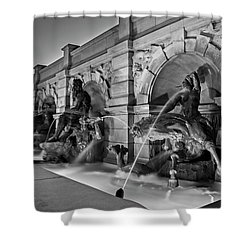 Neptune Fountain In Black And White Shower Curtain
