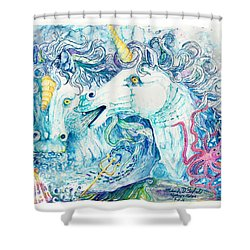 Neptune's Horses Shower Curtain