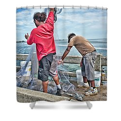 Net Fishing On Cortez Bridge  Shower Curtain