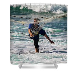 Net Fishing Shower Curtain by Roger Mullenhour