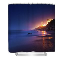 Netanya Beach At Night Shower Curtain