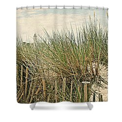Netherlands - Dunes And Lighthouse Shower Curtain