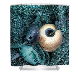 Nets And Buoys Shower Curtain by Lynn Jordan