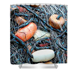 Nets With Orange And White Buoys Shower Curtain by Lynn Jordan