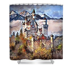 Shower Curtain featuring the digital art Neuschwanstein Castle by Pennie McCracken