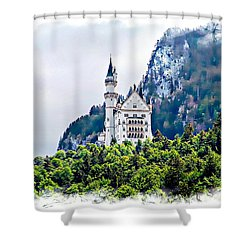 Neuschwanstein Castle With A Glider Shower Curtain