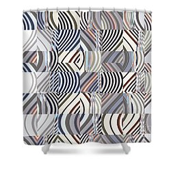 Neutral Graphic Curves Shower Curtain