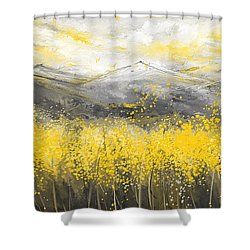 Neutral Sun - Yellow And Gray Art Shower Curtain