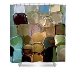Neutrals In Light Abstract Shower Curtain by Haleh Mahbod