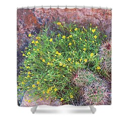 Shower Curtain featuring the photograph Nevada Yellow Wildflower by Linda Phelps