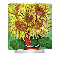 Never Enough Sunflowers Shower Curtain by Andrea Folts