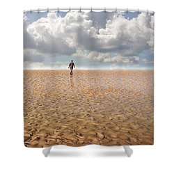 Never Go Back Shower Curtain by Mal Bray