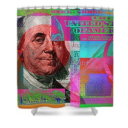 New 2009 Series Pop Art Colorized Us One Hundred Dollar Bill  No. 3 Shower Curtain by Serge Averbukh