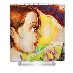 Shower Curtain featuring the drawing New Beginning by Shawna Rowe