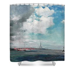 New Brighton From The Mersey Shower Curtain by JH Hay