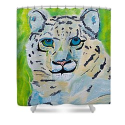 Eyes On You Snow Leopard Shower Curtain