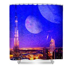 New Dubai On Tau Ceti E Shower Curtain