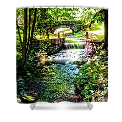New England Serenity Shower Curtain by Kathy Kelly
