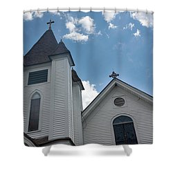 Shower Curtain featuring the photograph New England Church by Suzanne Gaff