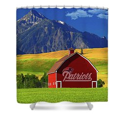 Shower Curtain featuring the photograph New England Patriots Barn by Movie Poster Prints