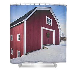 Shower Curtain featuring the photograph New England Red Barn Winter Orford by Edward Fielding