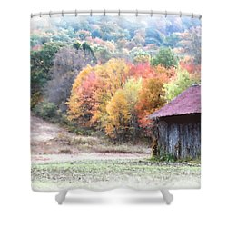 New England Tobacco Barn In Watercolor Shower Curtain by Smilin Eyes  Treasures