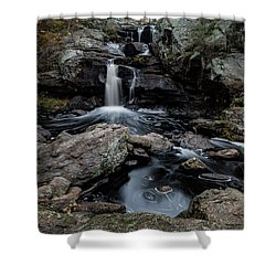 New England Waterfall In Autumn Shower Curtain