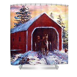 Shower Curtain featuring the painting New England Winter Crossing by Jack Skinner