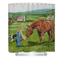 New Friends Shower Curtain by Charlotte Blanchard