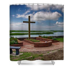 New Garden Cross At Belin Umc Shower Curtain
