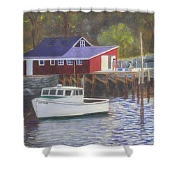 New Harbor Sunrise Shower Curtain