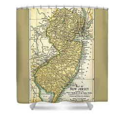 New Jersey Antique Map 1891 Shower Curtain