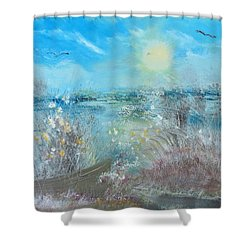 Boat In The Bay Shower Curtain