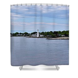 New London Harbor Lighthouse Shower Curtain