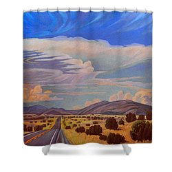 Shower Curtain featuring the painting New Mexico Cloud Patterns by Art James West