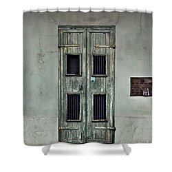 New Orleans Green Doors Shower Curtain